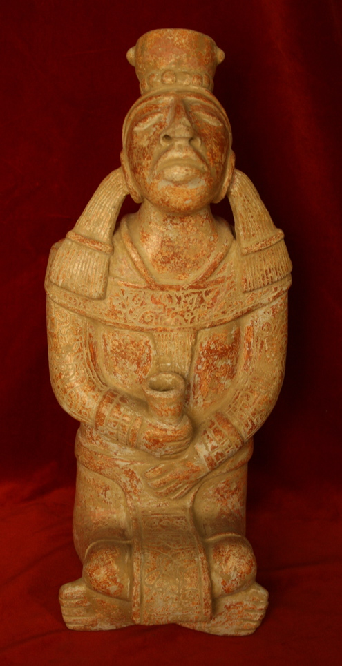 Mayan Style Sculpture of a Seated Man Holding a Cup