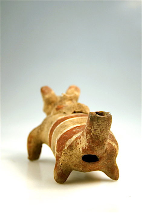 Colima Terracotta Whistle in the Form of a Dog with a Puppy on its Back
