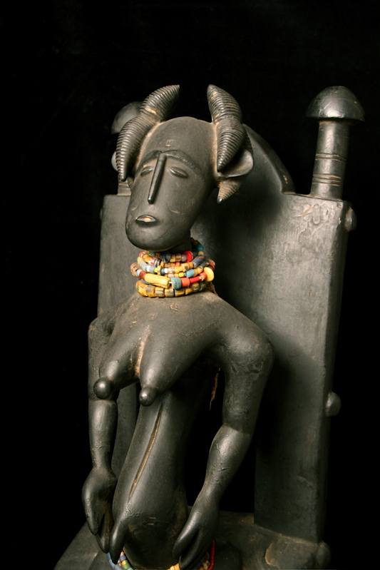 Asante Wooden Female Figure Seated on Chair