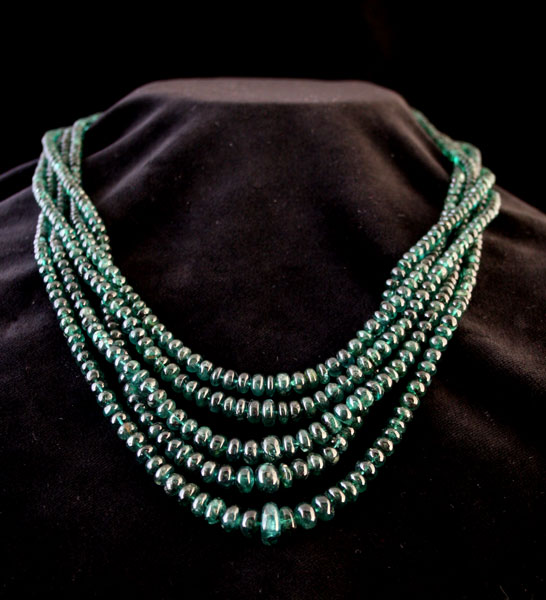 Five Strand Emerald Beaded Necklace