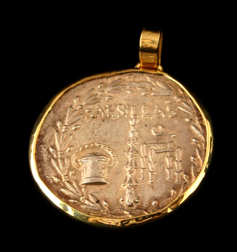 Gold Pendant Featuring a Silver Tetradrachm Minted Under Quaestor Aesillas