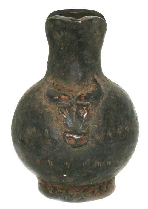 Bamileke Terracotta Vessel Featuring a Buffalo Head