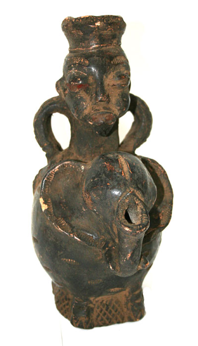 Grasslands Terracotta Vessel in the Form of an Elephant and Rider