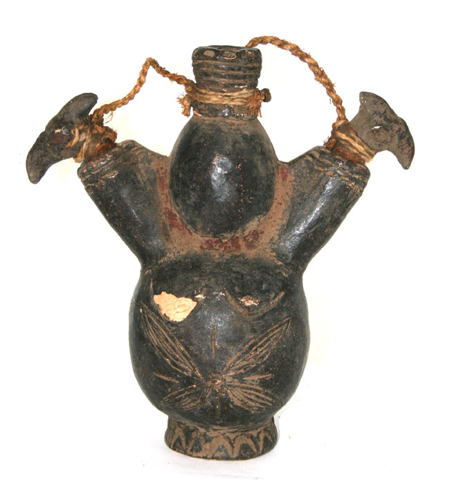 Grasslands Terracotta Vessel with Three Spouts and Two Bird-Headed Stoppers