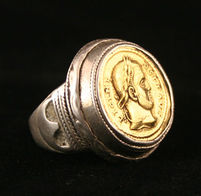 Silver Ring Featuring a Gold Coin of Emperor Licinius