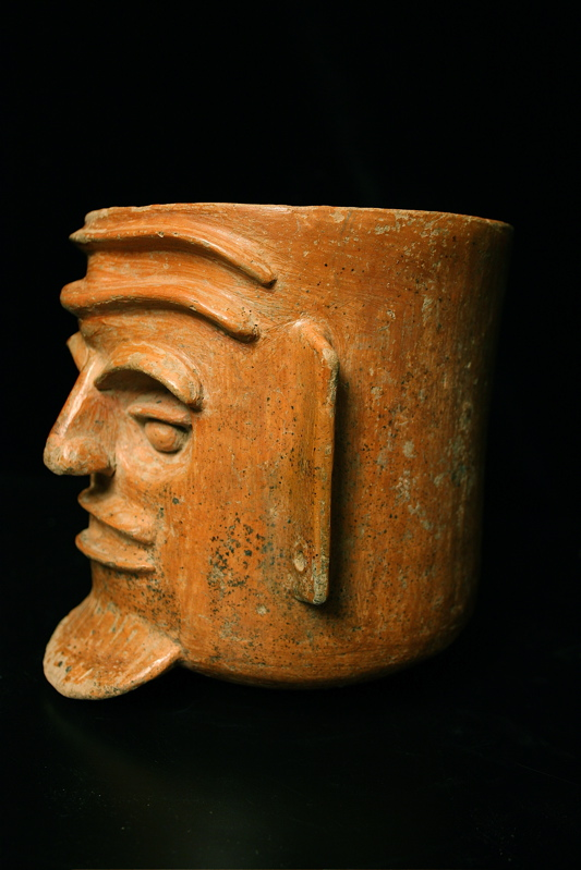 Toltec Plumbate Vessel in the Form of a Man's Head