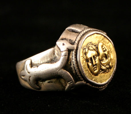 Classical Revival Silver Ring Featuring a Gold Coin