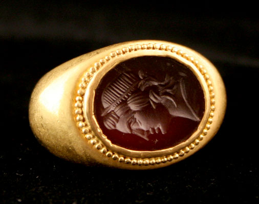 Gold Ring Featuring a Roman Intaglio Depicting the Bust of an Emperor