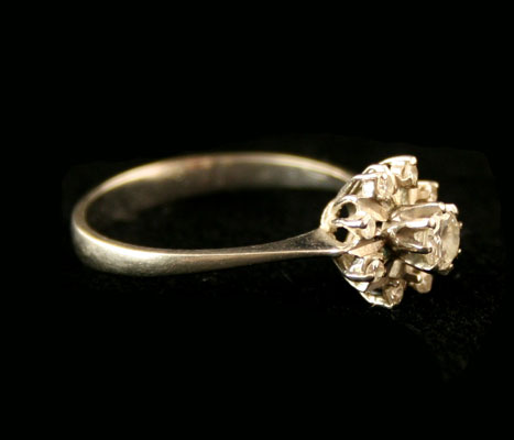 White Gold Ring with 9 Diamonds