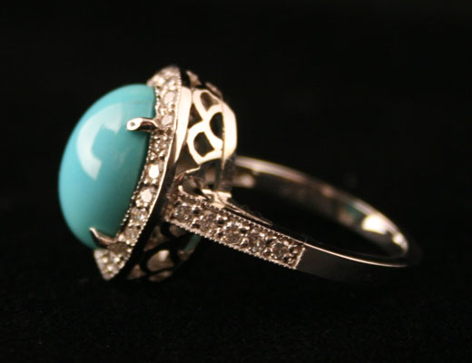 White Gold Ring with .80 Carat of Diamonds Featuring a Turquoise