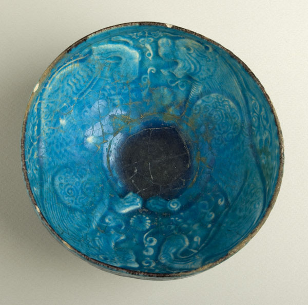 Moulded Turquoise Lion Bowl