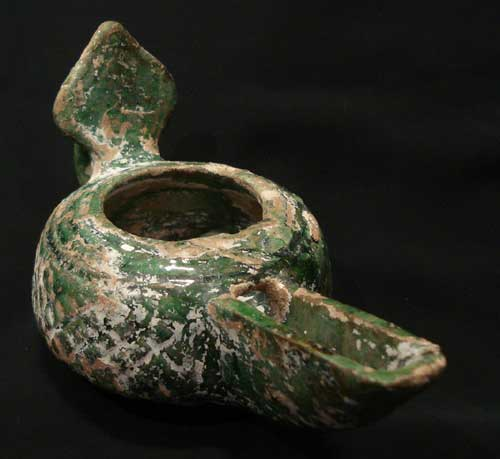 Glazed Oil Lamp