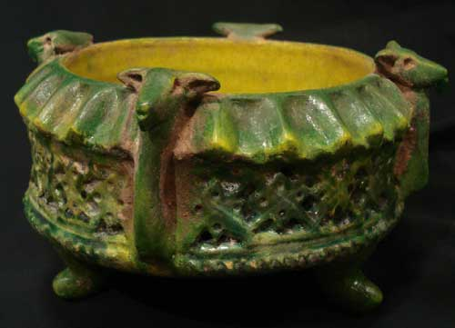 Green Glazed Dish with Moulded Ram Heads