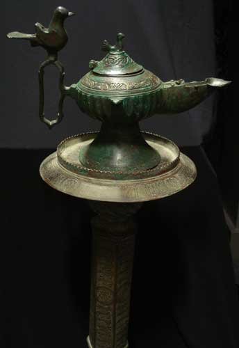 Bronze Oil Lamp with Stand