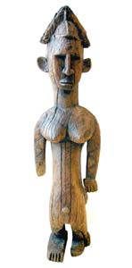 Bambara Wooden Sculpture of a Woman Afflicted by Polio
