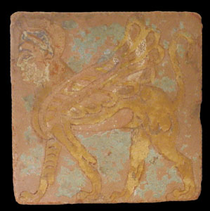 Assyrian Brick Tile Depicting A Sphinx
