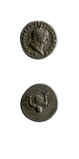 Silver Denarius of Emperor Vespasian Issued Posthumously by Titus