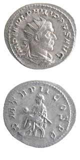 Silver Antoninianus of Emperor Philip I the Arab