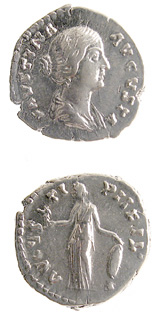 Silver Denarius of Empress Faustina Junior