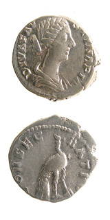 Silver Denarius of Empress Faustina Junior Issued Posthumously