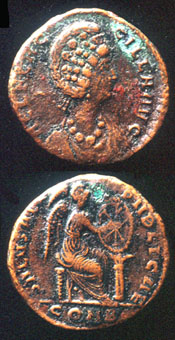 Roman Bronze Coin of Empress Aelia Flaccilla