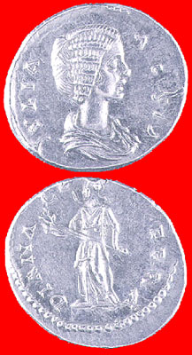 Silver Denarius of Empress Julia Domna