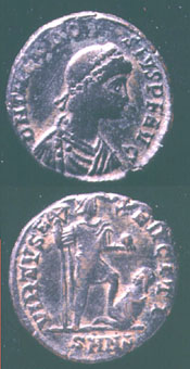 Bronze Coin of Emperor Theodosius I