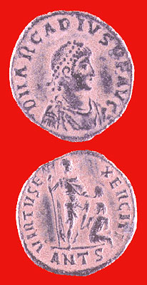 Bronze Coin of Emperor Arcadius