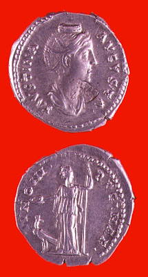Silver Denarius of Empress Faustina Senior