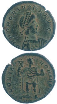 Bronze Coin of Emperor Honorius