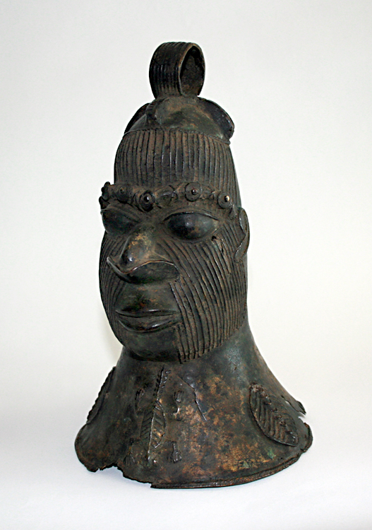 Benin Bronze Head Shaped Bell