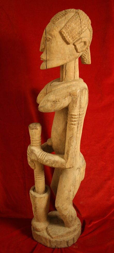 Dogon Wooden N'Duleri Statue of a Woman Pounding Grain