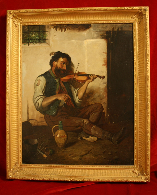 Oil Painting of a Violin Player