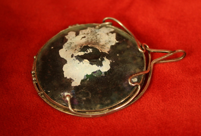 Silver Pendant Mounted with A roman Glass Fragment