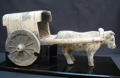 Han Dynasty Painted Pottery Bull Cart