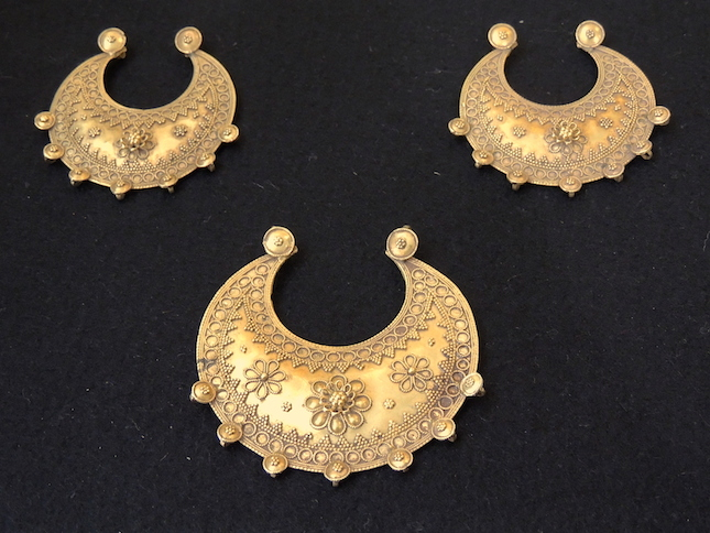 Set of Three Ottoman Gold Crescent Pendants