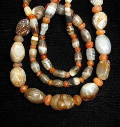 Necklace of Antique Carnelian and Faience Beads