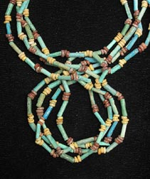 Necklace Of Egyptian Faience Beads & Silver Clasp