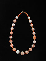 Necklace Of Coral Beads & 14k Gold Clasp