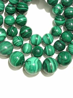 Necklace Composed Of Genuine Malachite Beads With A 14 Karat Gold Clasp