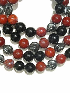 Jasper Bead, Hematite Bead, and Black Onyx Bead Necklace with a 14 Karat Gold Clasp