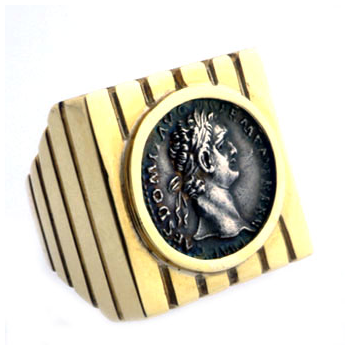 Gold Ring Featuring a Roman Silver Denarius of Emperor Domitian