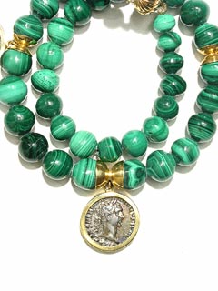 Malachite Beaded Necklace Featuring Three Silver Denarii
