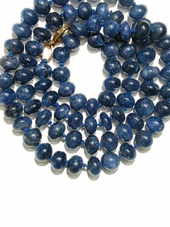 Necklace Composed Of Genuine Sapphire Beads With A 14 Karat Gold Clasp