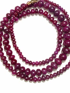Ruby Bead Necklace with Gold Clasp