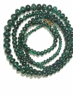 Emerald Bead Necklace with Gold Clasp
