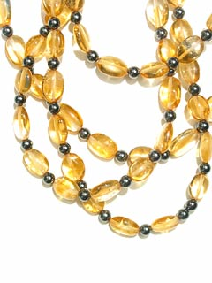 Four Strand Citrine and Hematite  Bead Necklace with Gold Clasp
