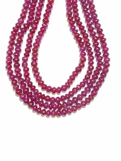 Four Strand Ruby Bead Necklace