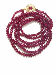 Necklace Composed Of Two Strands Of Genuine Rub