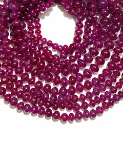 Three strand Ruby Bead Necklace